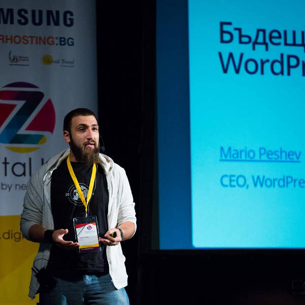 Mario Peshev on stage at WordCamp