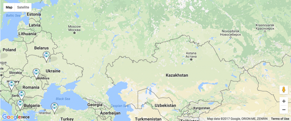 Google map of eastern Europe.